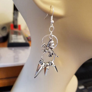 silver dragon charm chandelier earrings spike drop hoop long dangles handmade fantasy jewelry Elizavella
