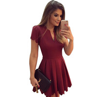 Elegant Summer Dress 2016 Women V-neck Short Sleeve Solid Color Dress Vestidos Mini Ladies Dress HML0207