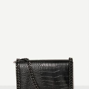 Missguided - Chain Trim Croc Cross Body Bag Black