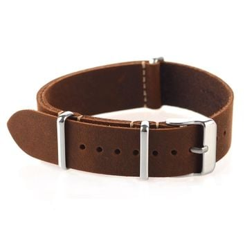 High Quality Vintage Crazy Horse Genuine Leather Nato Watchband Brown Watch Straps 18mm 20mm 22mm small hole