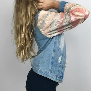 Ever After Sequin Denim Coat- FLASH SALE!