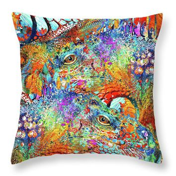 Colorful Iguana Art - Tropical Two - Sharon Cummings Throw Pillow