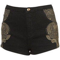 MOTO Gold Embroidered Hotpants - Sale - Sale & Offers - Topshop USA