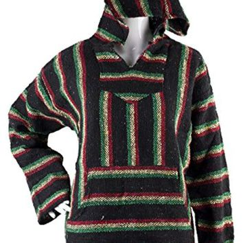 Unisex Classic Mexican Poncho - Baja Hoodie Jacket Sweater - Joe