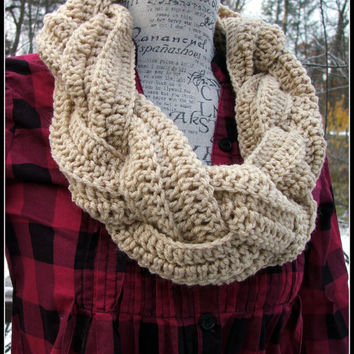 Crochet Braided Cowl. Infinity Cowl. Braid Cowl. Cowl. Scarf. Braid. Made By Bead Gs on ETSY. Tan color. Beige. Braided