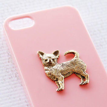 Chihuahua Apple iPhone 5 and 5s Pink and Gold Puppy Smartphone Hard Cover Case iPhone 6 Case