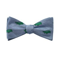 Alligator Bow Tie - Grey, Woven Silk