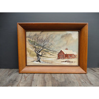 Vintage Watercolor Painting - Landscape - by Whorf - Barn in the Snow - Signed - Framed