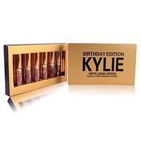 """Kylie"" Golden Birthday Edition Lip Color Lipstick Lip Glaze Makeup Lip Gloss 6 Color Set I13801-1"