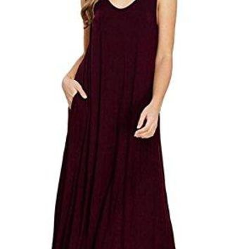Wicky LS Womens Long Sleeve Cotton Maxi s Solid Color Dress