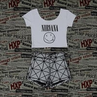 Nirvana Print Womens Gray Crop Top Ladies Short Sleeve Stretch T Shirt Tee