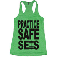 Practice Safe Sets Womens Gym Tank. Womens Burnout Gym Tank. Burnout Gym Tank Top. Womens workout clothes. workout tank top. funny tank.