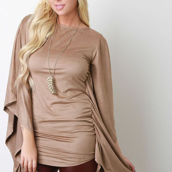 Faux Suede Poncho Top
