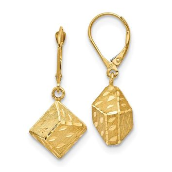 14k Yellow Gold Brushed D.C Leverback Earrings