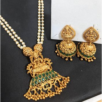 Dual stranded pearl chain necklace with Goddess Lakshmi Pendant and jhumka earring set - Matte gold finish