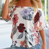 White Off Shoulder Floral Print Bell Sleeve Curved Hem Top