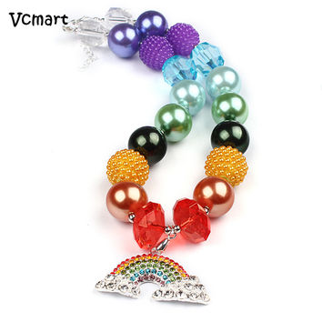 Vcmart 2pcs Bling Rainbow Pendant Necklace for Baby Kids Princess Chunky Bubblegum Necklace DIY Cosplay Fancy Party Gift