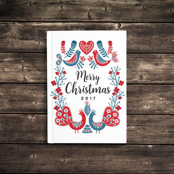 Merry Christmas 2017 - 5x7 Writing Journal, floral custom notebook, Scandinavian, hard cover book, personalized gift, blank or lined