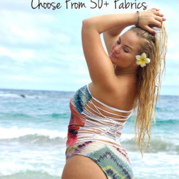 OHEO 1 Piece REVERSIBLE Plus Size Avail Strapless Knotted Bathing Suit Custom Made by Peace of Paradise