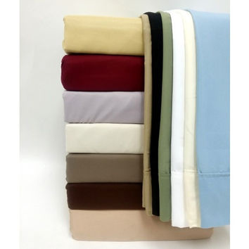 1500TC Solid Egyptian Cotton Bed Sheet Sets Sage in Full Size