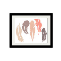 "Feathers. Vintage colors. Simple. Minimalist. Outdoors. Rustic. Bird. Gift Idea. Home Decor. 8.5x11"" Print."