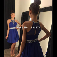 New Designed Royal Blue/Pink/Coral Short Prom Dresses For Teens Robe Crystal Beaded Dress To Party Formal Homecoming Dresses