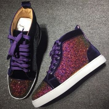 Cl Christian Louboutin Rhinestone Style #1942 Sneakers Fashion Shoes