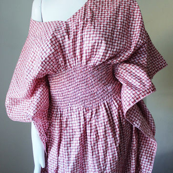 Caftan dress, off shouder, avant garde, vintage,sale (reg price 36), boho,  pink, red, black, smocked, checkered, plus size 16 to 20