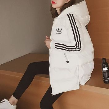 Adidas Women Simple Fashion Stripe Zip Cardigan Hooded Long Sleeve Middle Long Section Cotton-padded Clothes Coat
