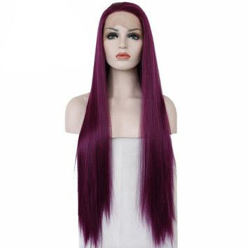 Liibby- Purple Color Heat Resistant Hair Hand Tied  Synthetic Lace Front Party Wig