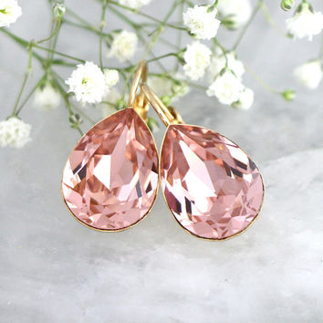 Blush Earrings, Bridal Blush Earrings, Bridal peach Earrings, Bridal Crystal Drop Earrings, Morganite Earrings, Bridesmaids Blush Earrings