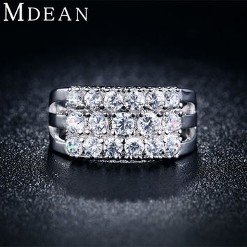 MDEAN Silver plated Rings For Women CZ diamond Jewelry Bijoux fashion Accessories Engagement Wedding Bague Bijoux ring MSR019