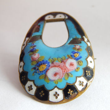Beautiful Antique Victorian Enamel Floral Brooch - Forget Me Not Brooch - Rose Brooch - Blue Enamel Brooch - Antique Jewelry