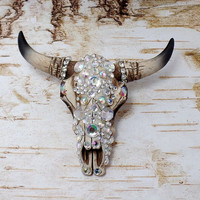 Rhinestone Decorated Resin Cow Skull Wall Art
