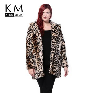Kissmilk 2018 Women Plus Size Leopard Fur Side Pockets 3XL 4XL 5XL 6XL Big Large Size Vintage Elegant Warm Coat