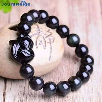 JoursNeige Natural Ice color Obsidian Fox Pendant Beads 10mm Bracelets Lucky for Women Men Crystal Bracelet Jewelry Accessories