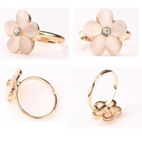 1PC Fashion Sweet Five Flower Shaped Ring Cat Eye Ring Couples rings