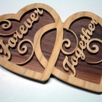 Forever Together Double Hearts Wall Decor Handcrafted Walnut Poplar