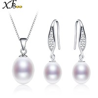 XF800 Pearl Jewelry Set Natural Freshwater Pearl Necklace Pendant Earrings Party Gift Engagement For Girl Women [XFT1032]