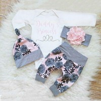 Baby Kid Girl Daddy´s Little Princess Romper+Pants+Hat+Headband Outfits 4pcs/set