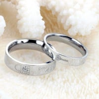 Stainless Steel Couple Rings Korean Jewelry, lock/ key his and hers promise ring sets, 2 pieces price 313