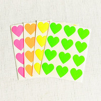 48 Assorted Neon Mini Heart Stickers - 3/4 Inch Bright Pink Envelope Seals Small Gift Wrapping Party Invitations Pretty Packaging