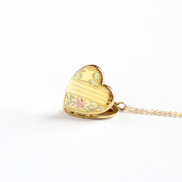 Vintage 12k Yellow Rose Gold Filled Heart Locket Necklace - Late Art Deco 1940s Sweetheart Flower Romantic Love Photograph Pendant Jewelry