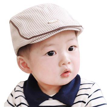 b20e17879f6 Fashion Elegant Baby Infant Boys Girls Stripe Beret Cap Casual Peaked  Baseball Hat for Kids Children