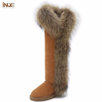 INOE Fashion Style big girls fox fur tall thigh winter snow boots for women winter sho