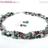 ON SALE Multi strand green, grey and brown stone necklace - braided natural stone necklace, aventurine, red tiger eye & rutilated quartz nec