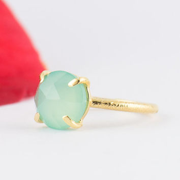 Aqua Blue Chalcedony Ring - March Birthstone - Aqua Blue Stacking Ring - Gold Ring - Round Ring - Prong Set Ring  - Size 3 4 5 6 7 8 9 10
