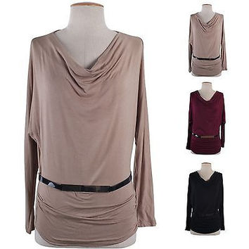 Women Solid Cowl Neck Dolman Long Sleeve Ruched Jersey Knit Top Belt Loose Fit