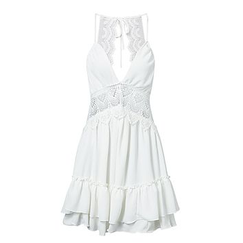 All I Need White Sleeveless Spaghetti Strap Lace Trim V Neck Cut Out Back Tiered Ruffle Flare Casual Mini Dress - 2 Colors Available