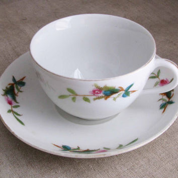 Antique Haviland & Co., Pretty Fuzzy Moss Rose Pattern, Limoges Fine Bone China Teacup And Saucer, Great For Any Tea Lover